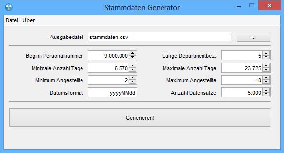 Screenshot des Stammdaten Generators