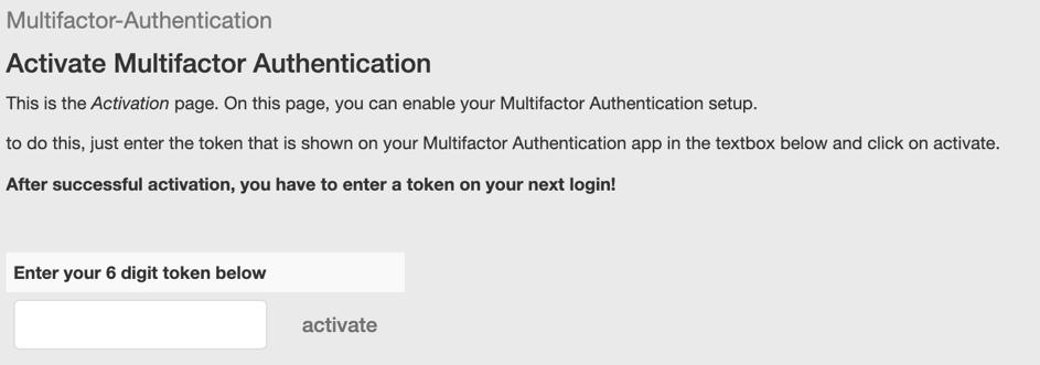 screenshot of token activation page